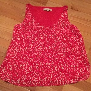 Red and cream floral V tank